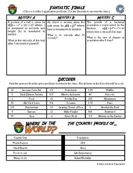 Adventure Math Worksheet -- Power Rule -- France