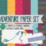 Clipart- Adventure Paper and Frame Set