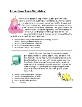 Adventure Time Variables Worksheet