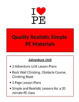 Adventure Unit - 3 Lesson Plans - Elementary PE