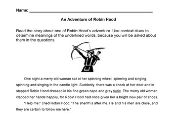 Adventure of Robin Hood Story w 12 Qs on Details, Draw Conclusions Cause -Effect
