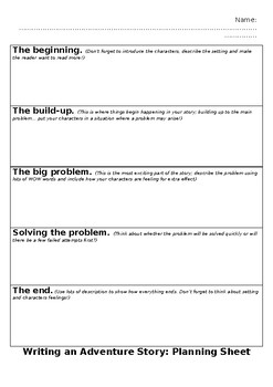 Adventure story planning sheet - differentiated