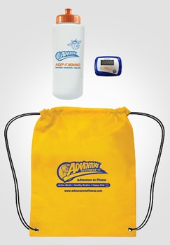 Adventure to Fitness water bottle + pedometer + drawstring backpack Combo