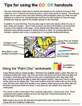 Adventures in Drawing Color Worksheets