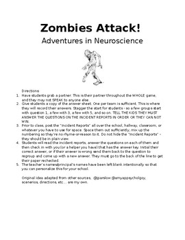 Adventures in Neuroscience: Zombies Attack Amazing-Race Style Review Activity