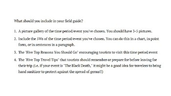 Adventures in World History Final Exam Summative Project