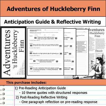 Adventures of Huckleberry Finn - Anticipation Guide and Reflection