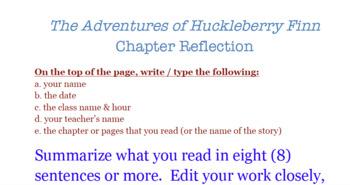 Adventures of Huckleberry Finn Chapter Reflection