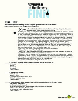 Adventures of Huckleberry Finn Final Test