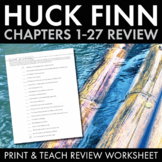 Adventures of Huckleberry Finn Mid-Novel Review Game for Mark Twain's Classic