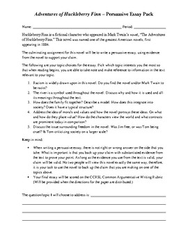 Adventures of Huckleberry Finn – Persuasive Essay Pack
