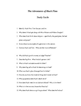 Adventures of Huckleberry Finn Study Guide