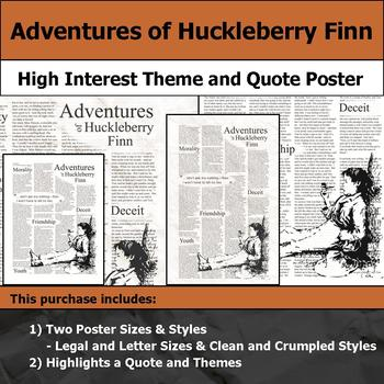 Adventures of Huckleberry Finn - Visual Theme & Quote Poster for Bulletin Boards