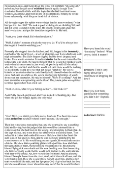 Adventures of Tom Sawyer - Chapter 3 & Chapter 4 Reading Comprehension