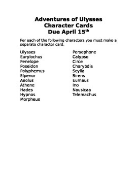 Adventures of Ulysses Character Cards