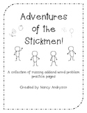 Adventures of the Stickmen! Missing Addend Story Problems