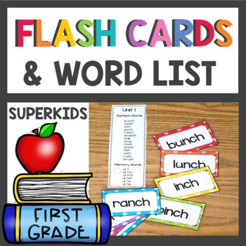 first grade flash cards word list by teaching superkids tpt. Black Bedroom Furniture Sets. Home Design Ideas
