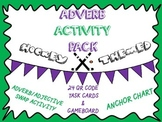 Adverb Activity Pack- Anchor Chart, Worksheet, QR Code Task Cards, & Game Board