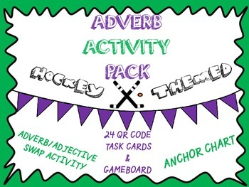 Adverb Activity Pack- Anchor Chart, Worksheet, QR Code Tas