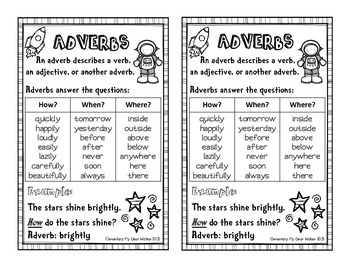 Adverb Anchor Chart, Interactive Notebook Pages, and Task Cards