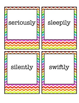 Rainbow Chevron Adverb Cards