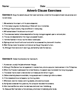 Adverb Clause Exercises