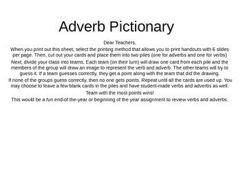 Adverb Drawing Game: Fun end of year game