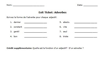 Adverb Formation in French