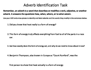 Adverb Identification Task - Common Core Standards