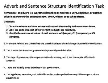 Adverb Identification Task II - Common Core Standards