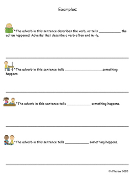 Adverb Note Taking Sheets