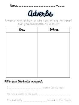 Adverb Practice Page - Beginners Printable