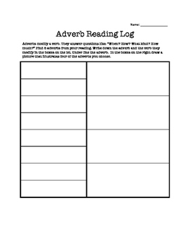 Adverb Reading Log