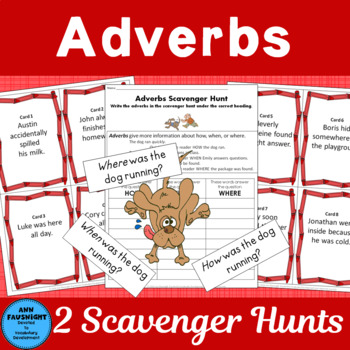 Adverb Scavenger Hunt with bonus activities