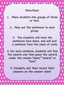 Adverb Sentence Sort
