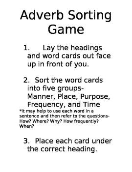 Adverb Sorting Game