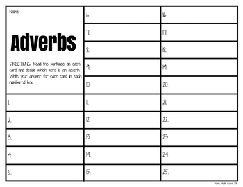 Adverb TASK CARDS (set of 50)