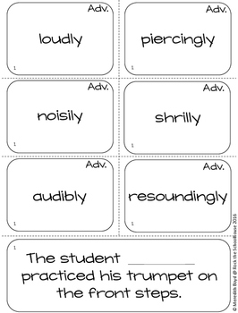 Adverb Vocabulary {Shades of Meaning Synonym Sorting Cards}
