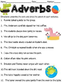 Adverb Worksheet