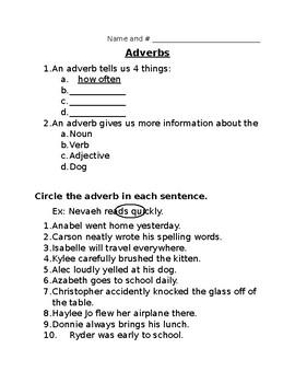 Adverb Worksheet/Quiz