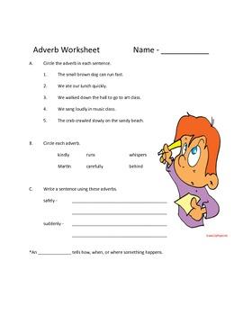Adverb Worksheet and Quiz