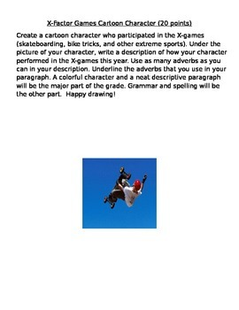 Adverb X-Factor Game Character drawing and paragraph
