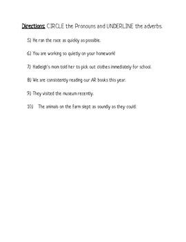 Adverb and Pronoun Practice Sheet