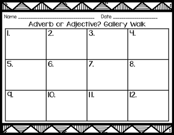 Adverb or Adjective Gallery Walk 2.L.1e