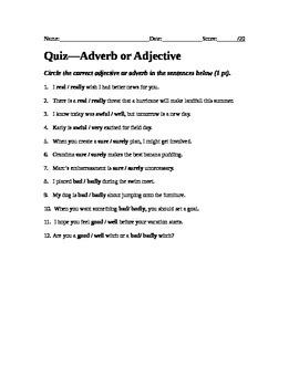 Adverb or Adjective Quiz