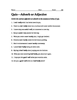 Adverb or Adjective Quiz