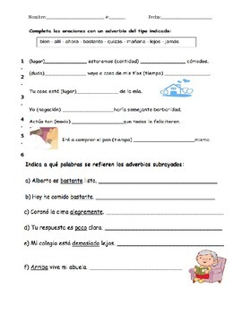 Adverbios / Adverb practice worksheet