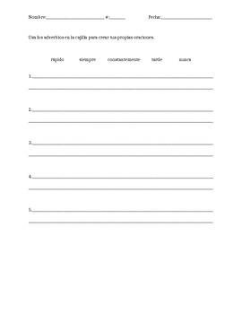 Adverbios / Adverb practice worksheet