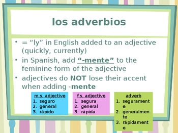 Adverbios (Spanish Adverbs) power point