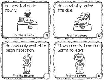 Christmas Activity Adverbs Task Cards